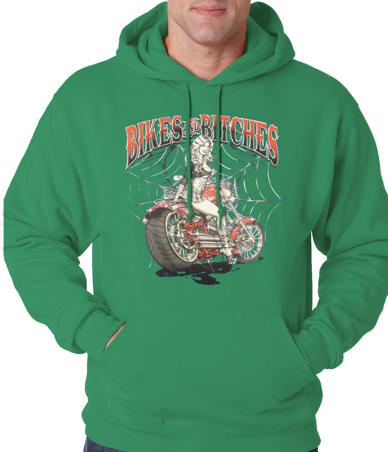 Bikes and B*tches Biker Adult Hoodie Kelly Green