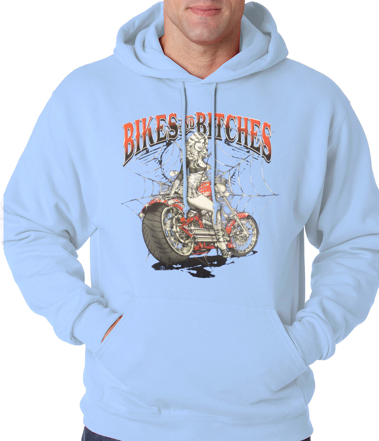 Bikes and B*tches Biker Adult Hoodie Light Blue