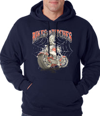 Bikes and B*tches Biker Adult Hoodie Navy Blue