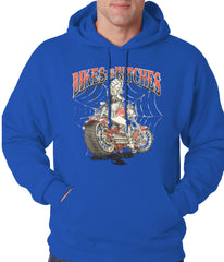 Bikes and B*tches Biker Adult Hoodie Royal Blue