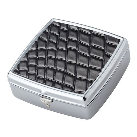 Black Croc Pattern Iron Chrome Plated Square Shaped 2 Compartment Pill Box