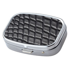 Black Croc Pattern with Mirror Iron Chrome Plated Rectangular 2 Compartment Pill Box