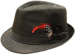 Black Fedora With Feathers