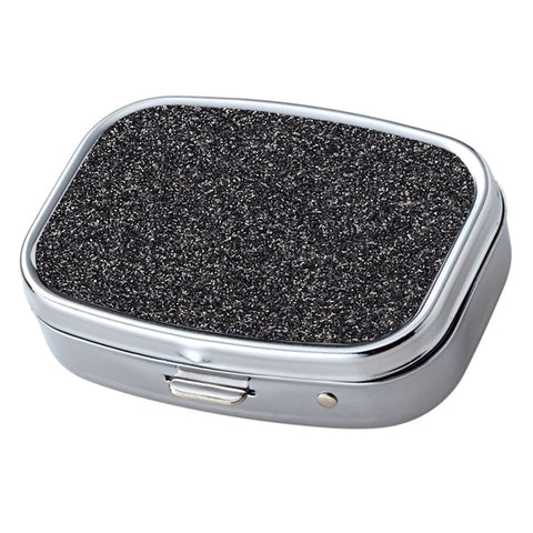 Black Glitter Pattern with Mirror Iron Chrome Plated Rectangular 2 Compartment Pill Box