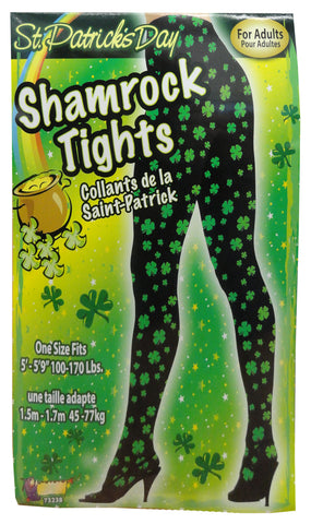 Black/Green Shamrock Tights for Adults