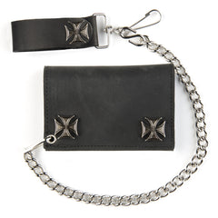 Black Leather Tri-Fold Wallet With Iron Cross Snaps and 12 Inch Chain