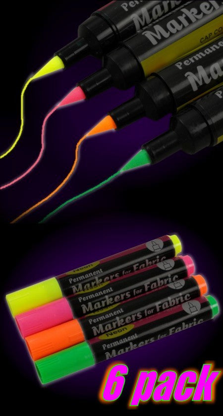 Black Light Reactive Neon Fabric Markers (6 pack)