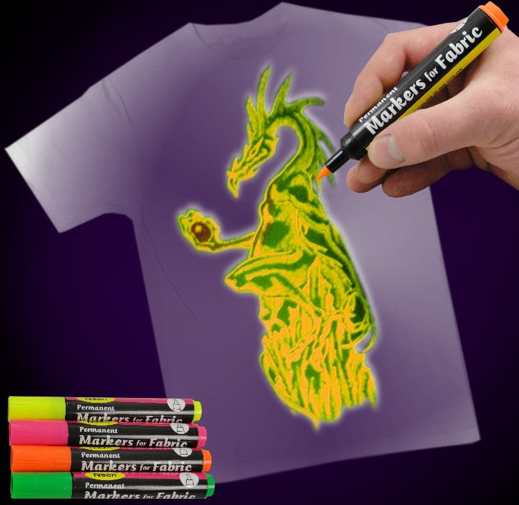 Black Light Reactive Neon Fabric Markers Drawing Animal