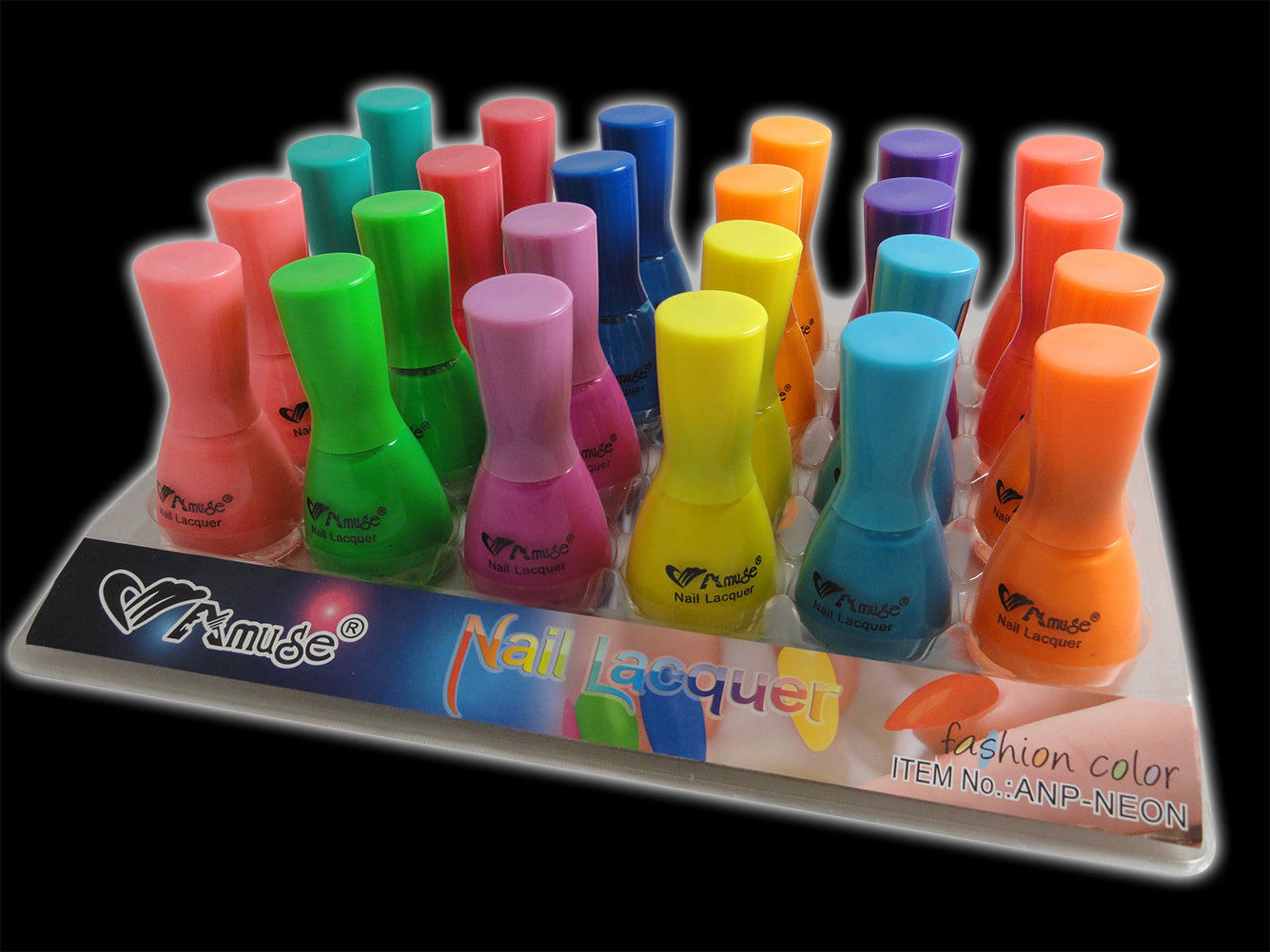 Black Light Reactive Neon Nail Lacquer (6 Pack Assorted)