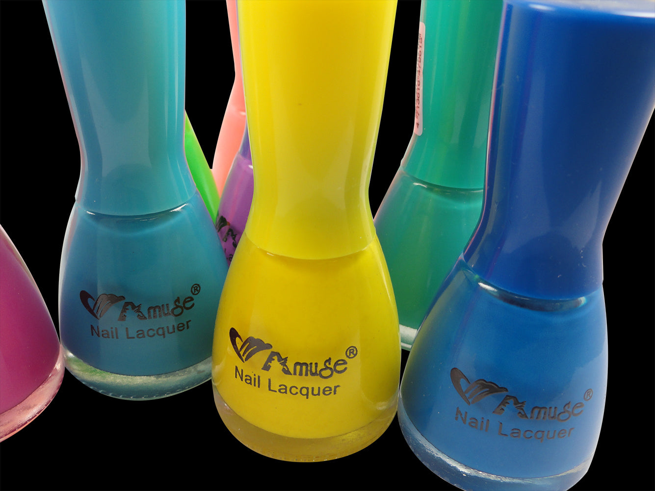 Black Light Reactive Neon Nail Lacquer Yellow Blue