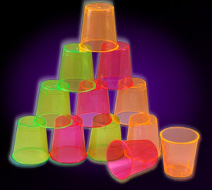 Black Light Reactive Neon Shot Glasses (12 Pack)