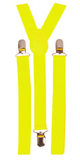 Black Light Reactive Neon Suspenders Yellow