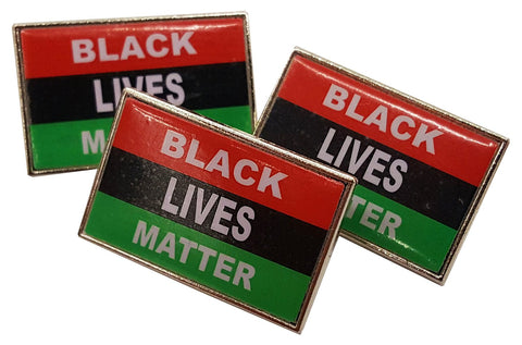 Black Lives Matter African American Flag Epoxy Coated Lapel Pin (Set of 3)