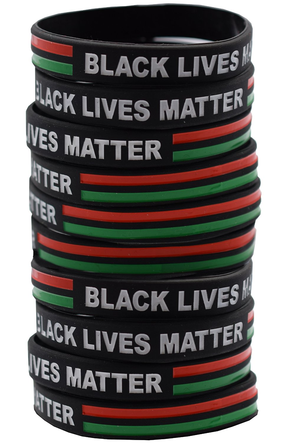 3 Pack of Black Lives Matter Bracelet - African American Colors Red, Black and Green