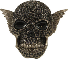 Black Magic Rhinestone Skull Belt Buckle