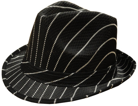 Black Pin-Striped Fedora Hat