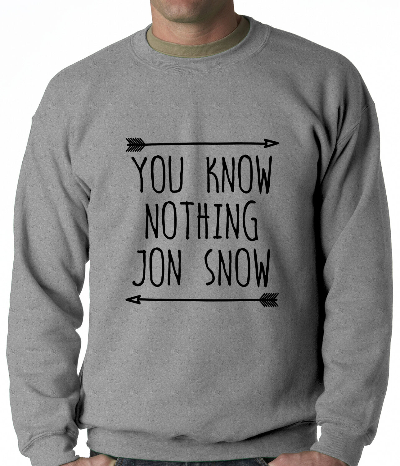 (Black Print) You Know Nothing Jon Snow Adult Crewneck