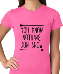 (Black Print) You Know Nothing Jon Snow Ladies T-shirt