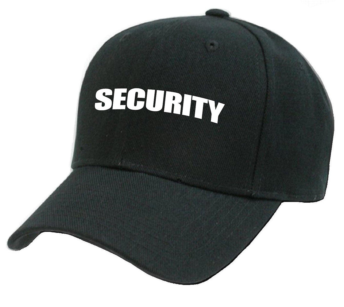 Security Baseball Hat with Adjustable Strap (Black)