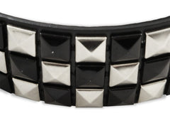 Black & Silver Pyramid Studded Leather Belt