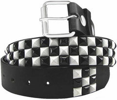 Black & White Checkerboard Pyramid Studded Leather Belt