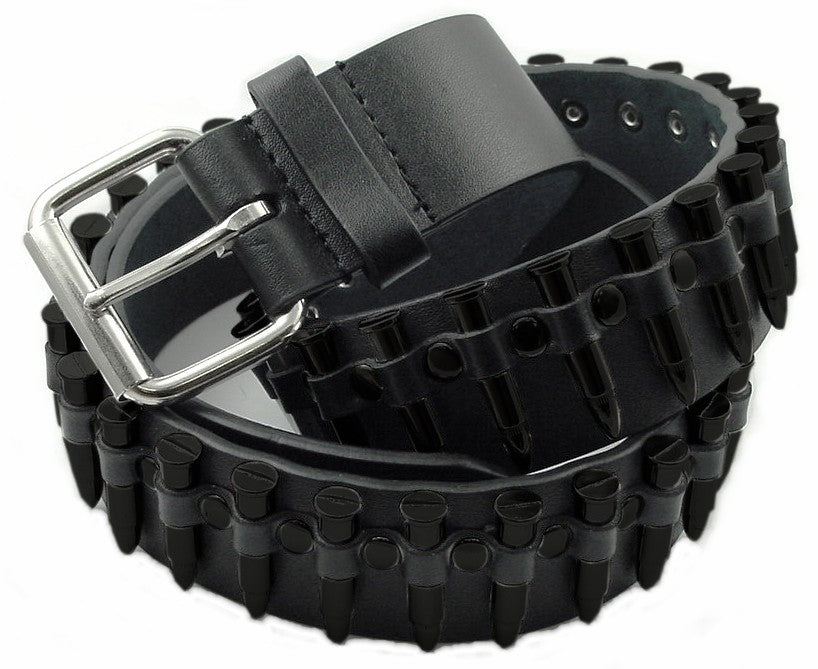 Blacked Out  Leather Bullet Belt
