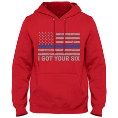 Blue Line American Flag - I Got Your Six - Blue Lives Matter Adult Hoodie