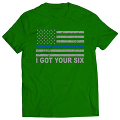 Blue Line American Flag - I Got Your Six - Blue Lives Matter Kids T-shirt