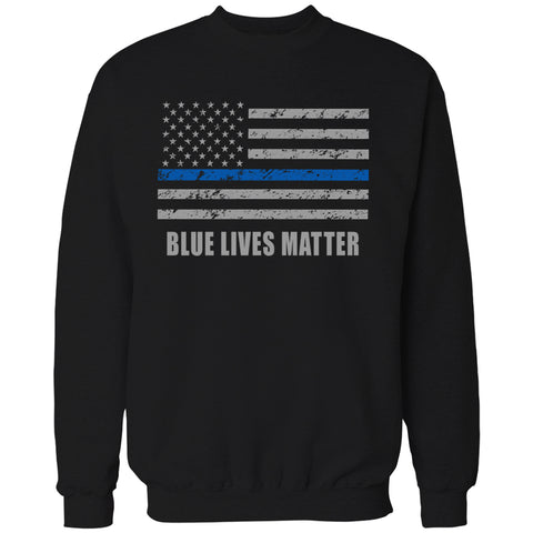 Blue Lives Matter Blue Line Flag Adult Crewneck