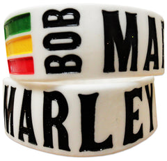 Bob Marley One Love Designer Rubber Saying Bracelet (White)