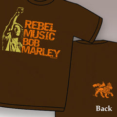 Bob Marley Rebel Music T-Shirt (Brown)