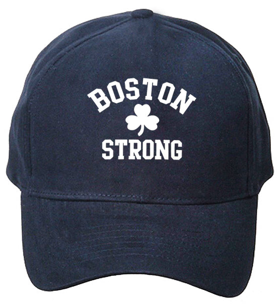 Boston Strong Irish Shamrock Baseball Hat Navy Blue