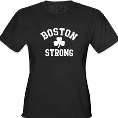 Boston Strong Irish Shamrock Girl's T-Shirt Black