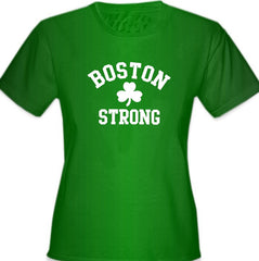 Boston Strong Irish Shamrock Girl's T-Shirt Kelly Green