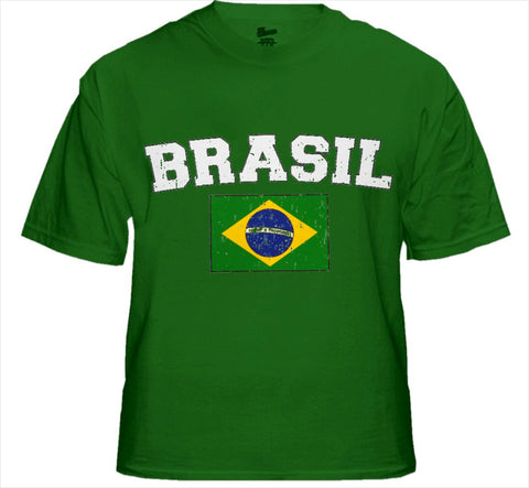 Brasil Vintage Flag International Mens T-Shirt