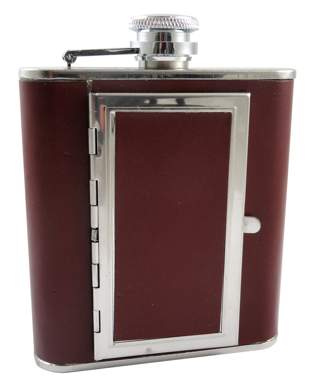 Brown 5 oz. Flask with Built in Cigarette Case (For Regular Size Cigarettes)