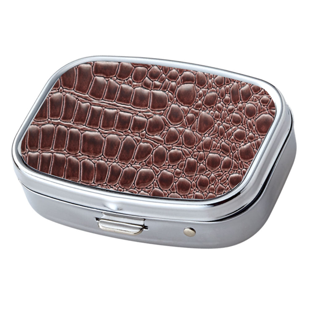 Brown Croc Pattern with Mirror Iron Chrome Plated Rectangular 2 Compartment Pill Box