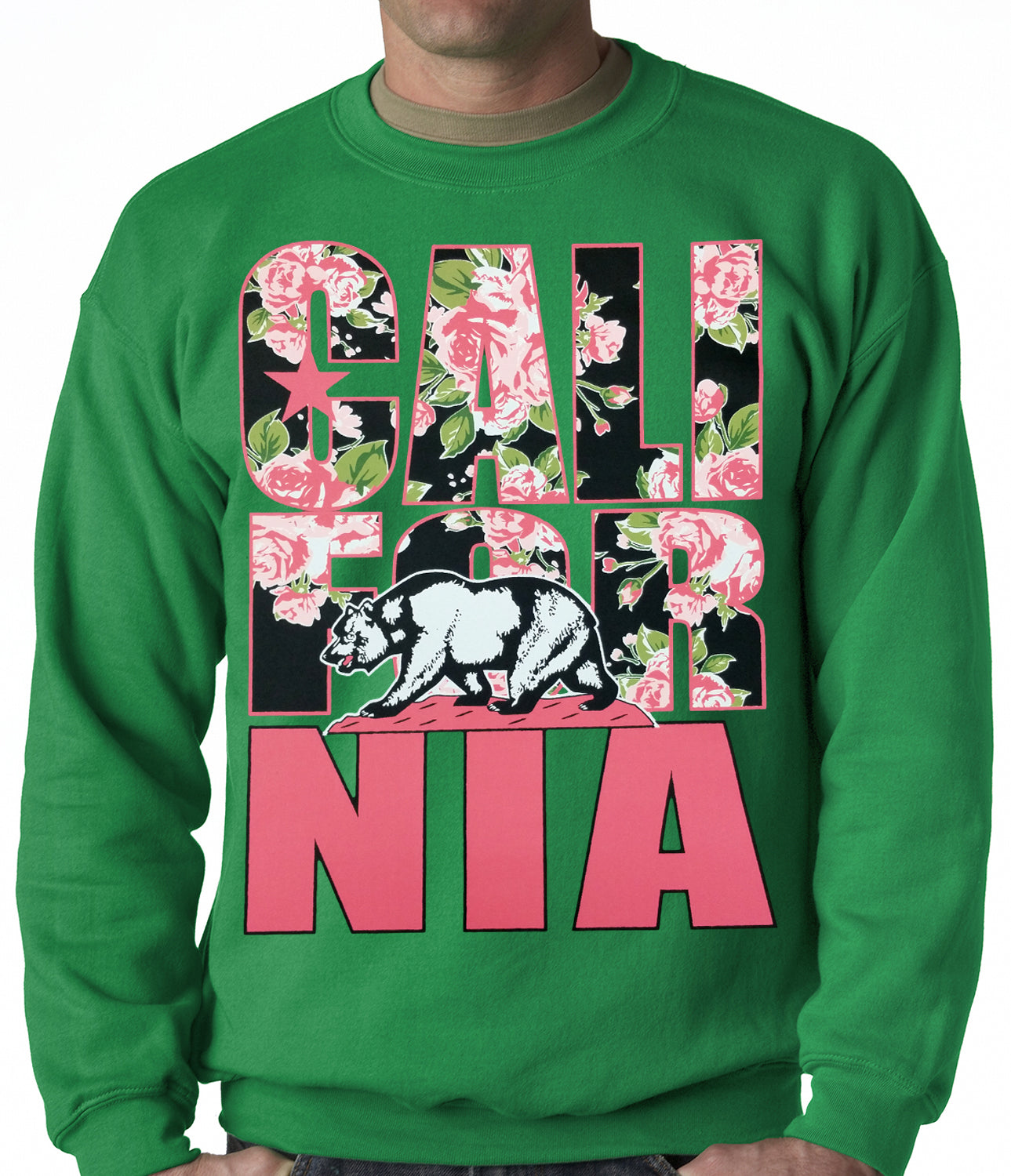 California Floral Pattern Adult Crewneck