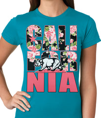 California Floral Pattern Ladies T-shirt