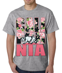 California Floral Pattern Mens T-shirt