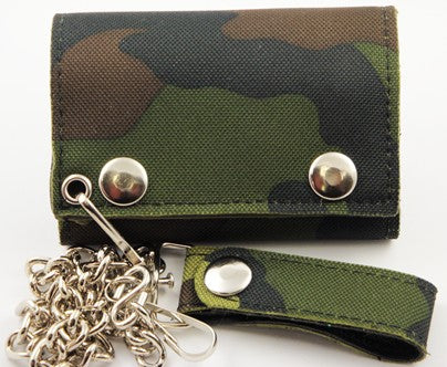 Canvas Camouflage Chain Wallet