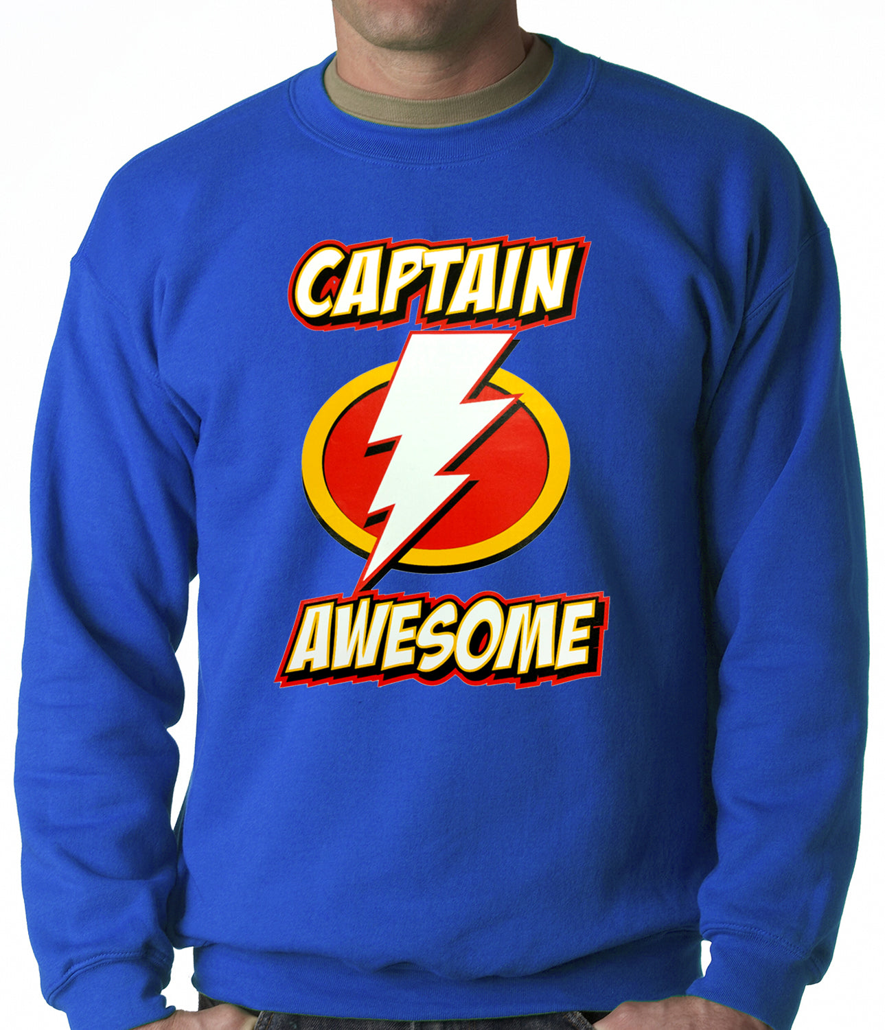 Captain Awesome Adult Crewneck