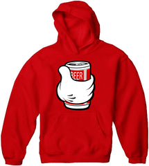 Cartoon Hand Beer Can Adult Hoodie