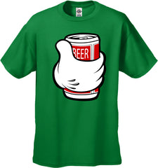 Cartoon Hand Beer Can Men's T-Shirt