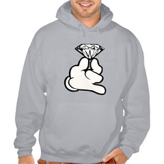 Cartoon Hand With Diamond Adult Hoodie
