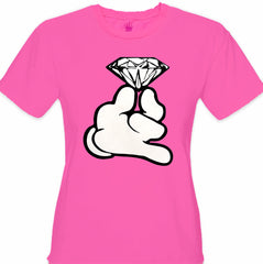 Cartoon Hand With Diamond Girl's T-Shirt