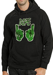 Cartoon Hands Dope Pot Leaf Pattern Adult Hoodie