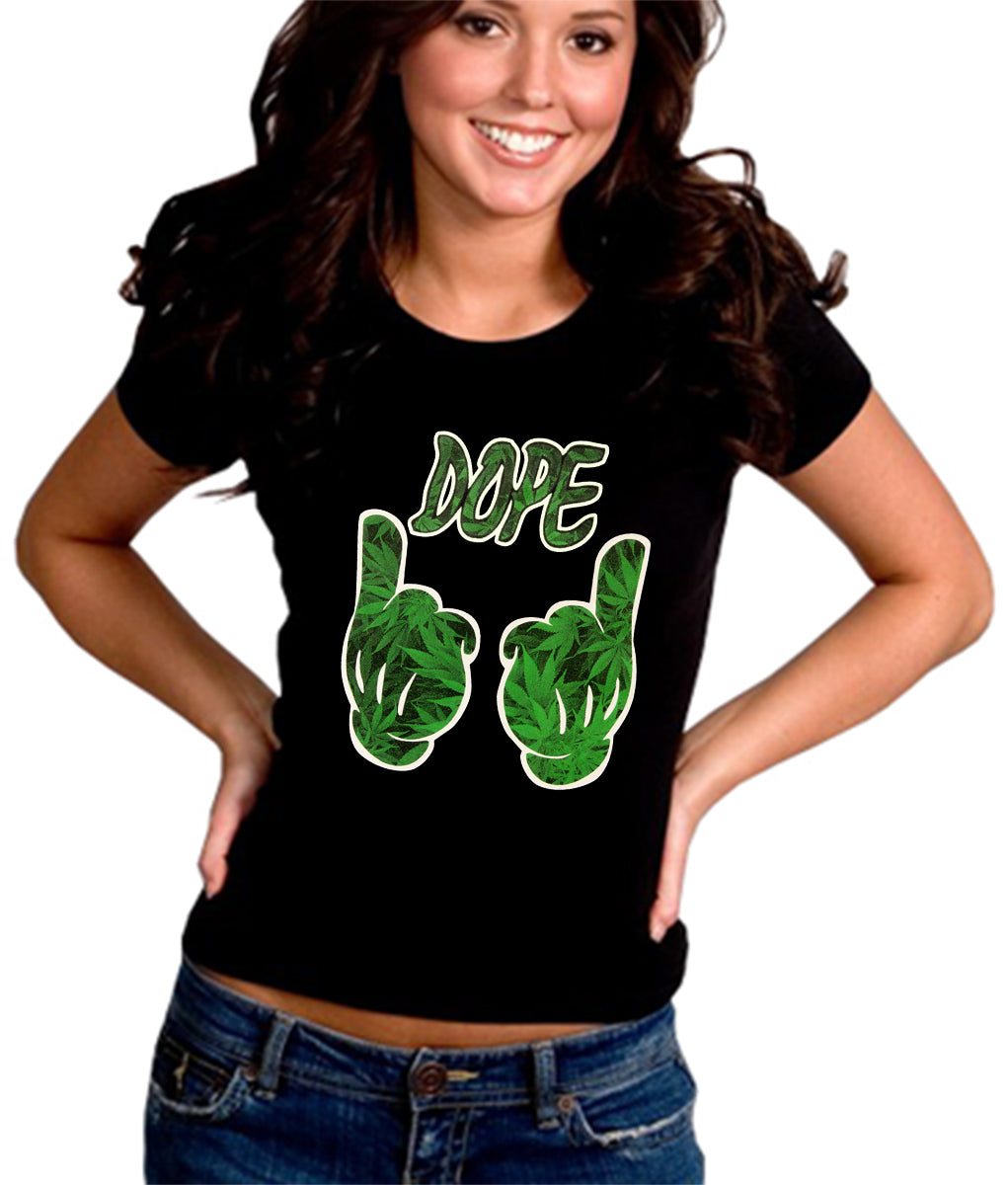 Cartoon Hands Dope Pot Leaf Pattern Girl's T-Shirt