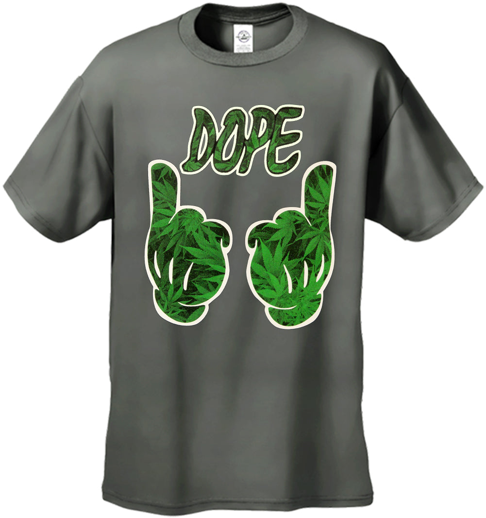 Cartoon Hands Dope Pot Leaf Pattern Men's T-Shirt
