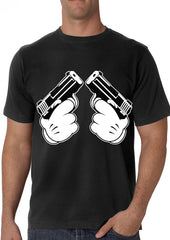 Cartoon Hands Double Gun's  Men's T-Shirt